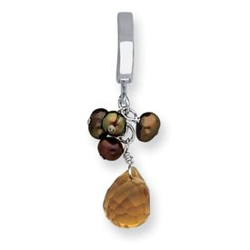 Sterling Silver Topaz/FW Cultured Green & Brown Pearl Tummy Toy - QE2112TUT