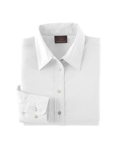 Harriton Ladies Long Sleeve Oxford w/Stain Release - White M600W XL