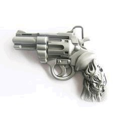 Revolver and Flame Skull Belt Buckle