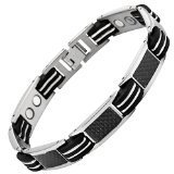 Willis Judd Mens Titanium Magnetic Bracelet With Black Carbon Fibre In Black Velvet Bracelet Box + Free Link Removal Toolby Willis Judd