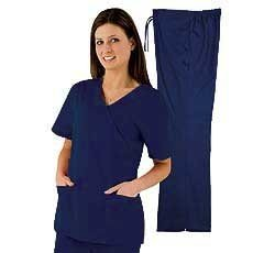 Natural Uniforms Women's Mock Wrap Scrub Set (Navy Blue) (X-Small) (Natural Uniforms Scrubs compare prices)