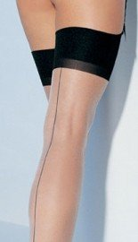 Leg Avenue Black & Beige Cuban Heel Thigh High Gothic Vamp