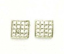 14ct White Gold 2 mm Round CZ Square Design Post Earrings