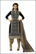 Meghali Women's Cotton Unstitched Salwar Suit (MGBD14D14_Black _Free Size)