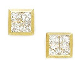 14ct Yellow Gold CZ Medium 4 Stone Square Fancy Post Earrings - Measures 8x8mm