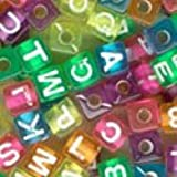 Plastic Alphabet Beads Transparent Colors 7mm Cubes (320pcs)
