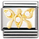 Composable Classic AIR ANIMALS In stainless steel , 18k gold and Cubic zirconia (WHITE butterfly)