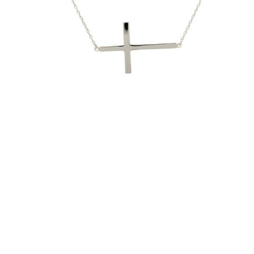 apop nyc Sterling Silver Horizontal Cross Necklace 18 inch Large Cross