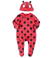 Pure Cotton Spotted Sleepsuit with Ladybird Hat