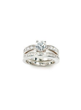 Alliance T60 Rhodié Demi-Rail Saphir Diamant Cz Argent Massif 925 Dolly-Bijoux