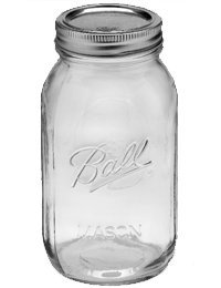 Ball Jar with Lid and Band - Pick Your Size and Color (Clear, Regular Mouth Quart - 32 oz.)