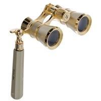 Adorama 3X25 Iolanta Opera Glass Binocular With Built-In Extendable Handle, Titanium With Gold Trim