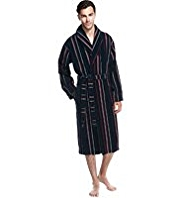 Pure Cotton Striped Velour Dressing Gown