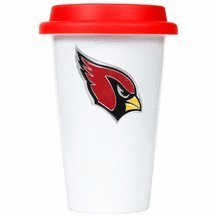 Nfl Arizona Cardinals Double Wall Tumbler With Silicone Lid, 12-Ounce, White/Red front-636675