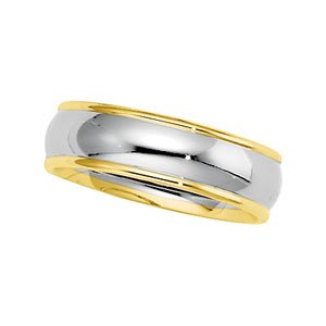 14k Two-Tone Comfort Fit Band Ring - Size 12.5 - JewelryWeb