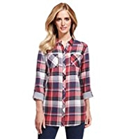 M&S Collection Pure Cotton Double Face Checked Longline Shirt