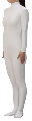 Seeksmile Unisex Lycra Spandex Zentai Dancewear Catsuit without Hood (Medium, White)