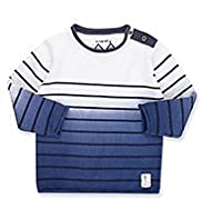 Autograph Pure Cotton Dip Dye Striped Jumper