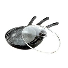 Stone Magic Marble Coated Frying Pan's with a Large Glass Lid, Set of 3 (Coated Frying Pan compare prices)