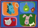 "Joy Carpets Kid Essentials Infants & Toddlers My Favorite Animals Rug, Multicolored, 3'10"" x 5'4"""