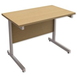 Trexus Contract Rectangular Return Desk Silver Legs W1000xD600xH720mm Oak