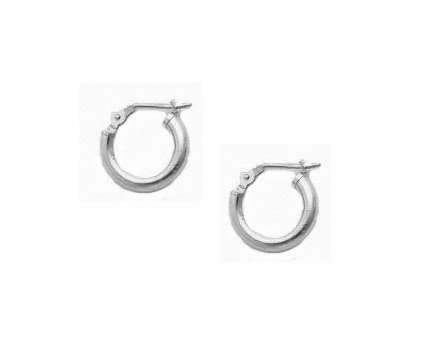 14K Real White Gold Baby Hoops Tubular Shiny Round Hoops Children Hoop Earrings 2x12mm