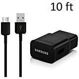 OEM Samsung Fast Adaptive Wall Adapter Charger for Galaxy S8 S8+ Note 8 EP-TA20JBE + 10 Foot Type C/USB-C Cable - Black (Color: Black)