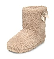 M&S Collection Faux Fur Shaggy Bow Boot Slippers