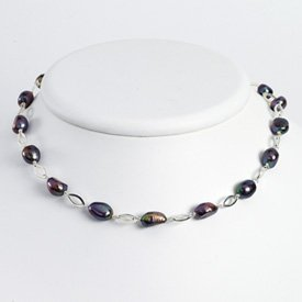 Sterling Silver Peacock Cultured Pearl Necklace - QH2808-18