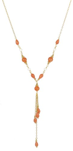 Dyed Coral, White Freshwater Pearl and Gold Plated Silver Chain with Dangling Pendant Necklace, 18