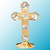 24K Gold Plated Cross Free Standing - Clear - Swarovski Crystal