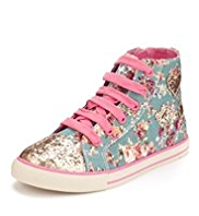 Lace Up High Top Sequin Embellished Heart & Floral Trainers