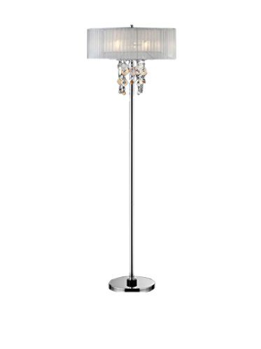 ORE International Moon Jewel 2-Light Floor Lamp, Silver/Ivory