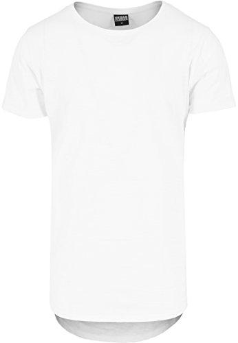 Urban Classics - T-Shirt Long Back Shaped Slub Tee, Maglia a maniche lunghe Uomo, Bianco (Weiß), Large (Taglia Produttore: Large)