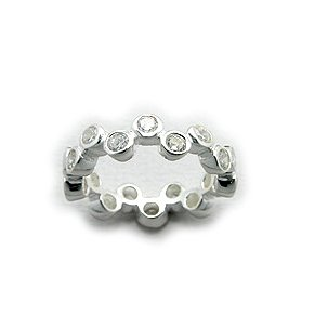 Cubic Zirconia and Sterling Silver Champagne Bubble Eternity Ring