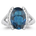 0.20 Ct Diamond & 5.85 Cts London Blue Topaz Ring in 14K White Gold-4