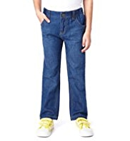 Pure Cotton Adjustable Waist Straight Leg Jeans