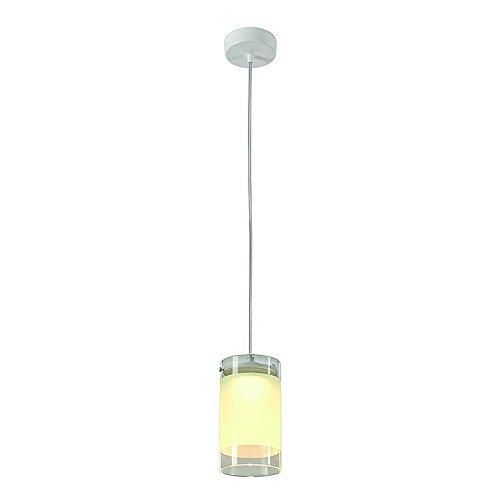 SLV Lefa 1 Pendelleuchte rund, 5 W LED, 3000 K, klares Glas mit gefrostetem Bereich, weiß 133421