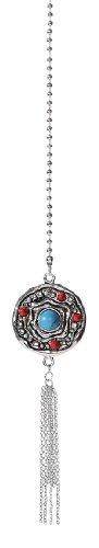 Ganz Solid Metal Fan Pulls - Elegant Pull Chain Charm - Silver Tone With Decorative Turquoise Eye (Ceiling Fan Puller compare prices)