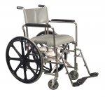Rehab Shower Commode Wheelchair, 17.5 Hiback