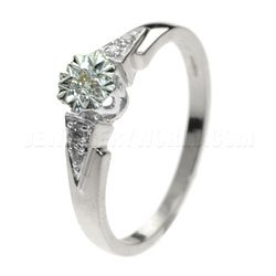 Point Shoulders 9ct White Gold Diamond Engagement Ring - P