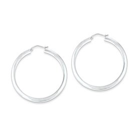 Genuine IceCarats Designer Jewelry Gift Sterling Silver Rhodium-Plated Square Hoop Earrings