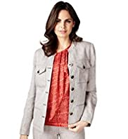 Per Una Pure Linen Open Neck Collar Jacket