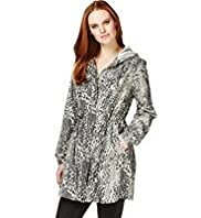 Shower Resistant Hooded Animal Print Parka