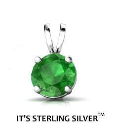 925 Sterling Silver Solitaire 1.50 Carat Emerald Green Cubic Zirconia Pendant. (Basket Setting) 1.50 carat 7 mm Round Top Quality Cubic Zirconia