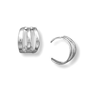 Ear Cuff Three Row Polished Sterling Silver