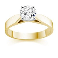 1/4 Carat H/IF Round Brilliant Certified Diamond Solitaire Engagement Ring in 18ct Solid Yellow Gold