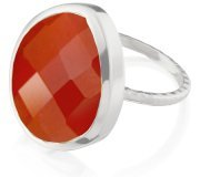 Monica Vinader Silver Large Nugget Ring In Carnelian