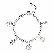 Dotty Silver Plated Charm Bracelet Gift Boxed
