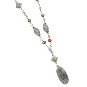 Long Labradorite, Pearl and Crystal Sterling Silver Necklace - Made in the USA